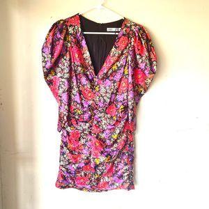 Zara floral mini dress v neck puff shoulder